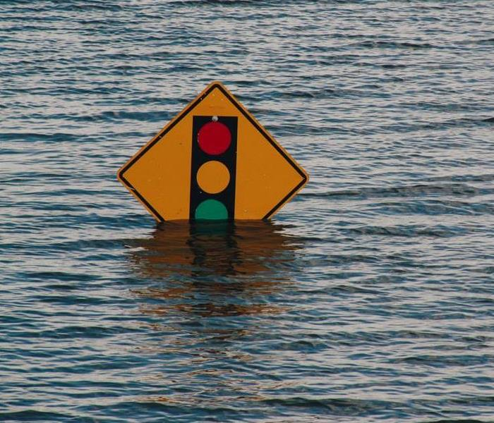 A traffic signal sign in flood waters!
