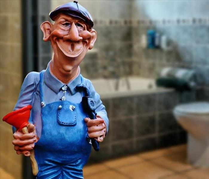 A Cartoon Picture of a Plumber In A Bathroom