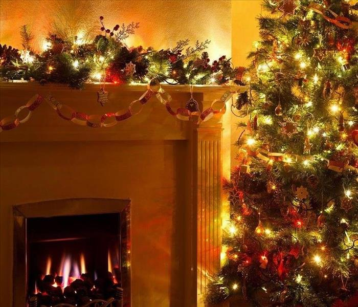A Christmas Tree And Fireplace